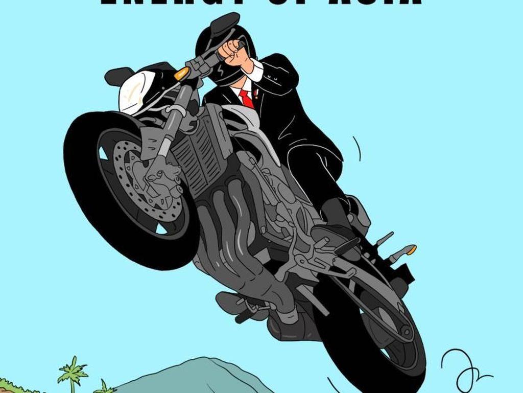 Aksi Jokowi Naik Moge Jadi Ilustrasi Keren Hari Prast
