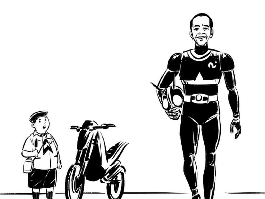 Meme Lucu Aksi Jokowi Naik Moge di Pembukaan Asian Games 2018