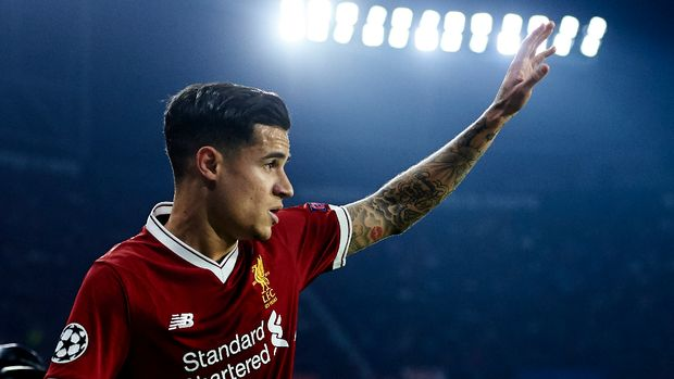 SEVILLE, SPAIN - NOVEMBER 21: Philippe Coutinho of Liverpool FC reacts during the UEFA Champions League group E match between Sevilla FC and Liverpool FC at Estadio Ramon Sanchez Pizjuan on November 21, 2017 in Seville, Spain. (Photo by Aitor Alcalde/Getty Images)