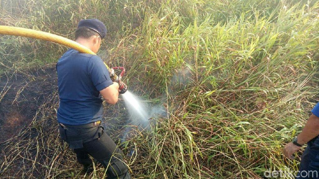 Aksi Pemadaman Kebakaran Lahan di Dekat Wisma Atlet Jakabaring