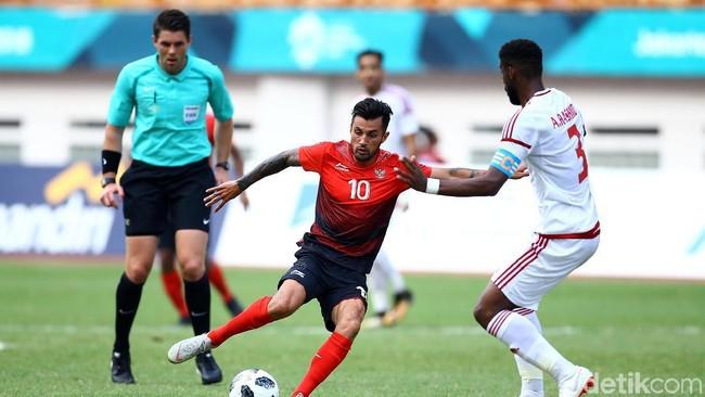 Indonesia saat berhadapan dengan Uni Emirat Arab di Asian Games 2018. (Foto: Grandyos Zafna/detikcom)