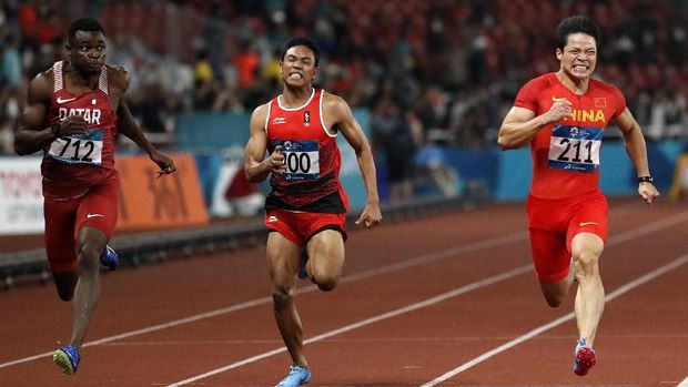 Lalu Zohri hanya finis di posisi kedua terakhir di nomor lari 100 meter cabor atletik Asian Games 2018. (