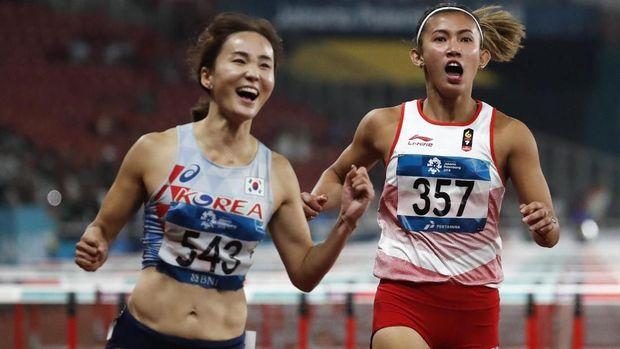 Nova Emilia finis di urutan kedua, Jun Hyelim finis pertama di nomor lari halang rintang 100 meter Asian Games 2018. (