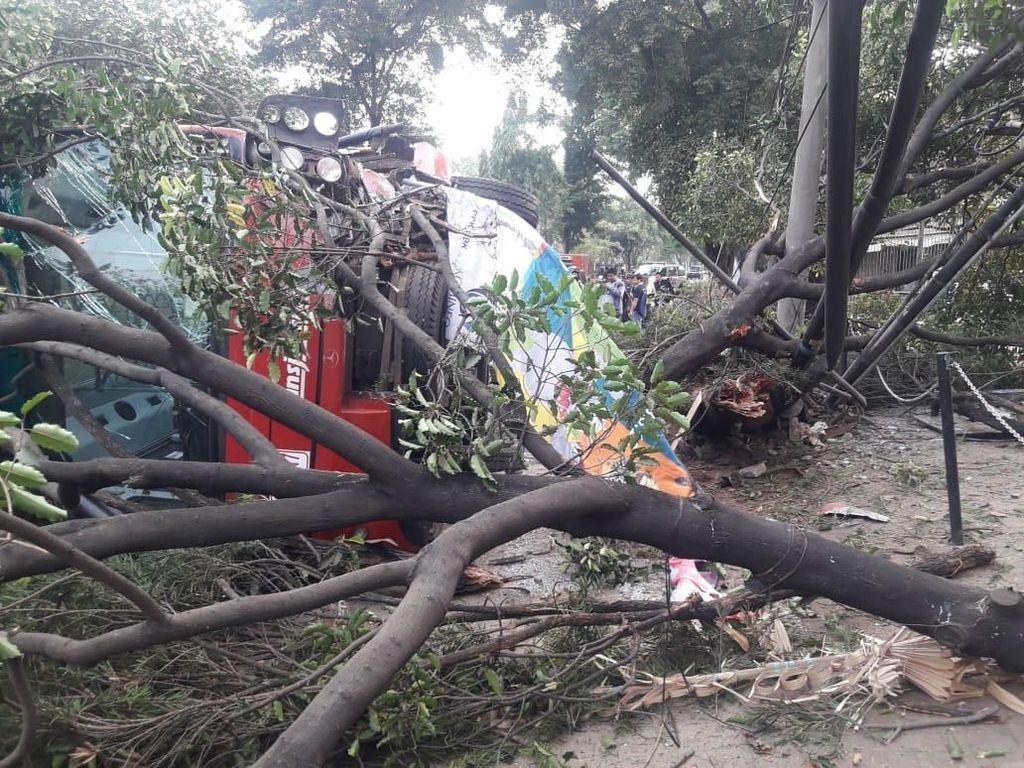 Bus TransJ Kecelakaan hingga Bikin Pohon Tumbang di Jaksel