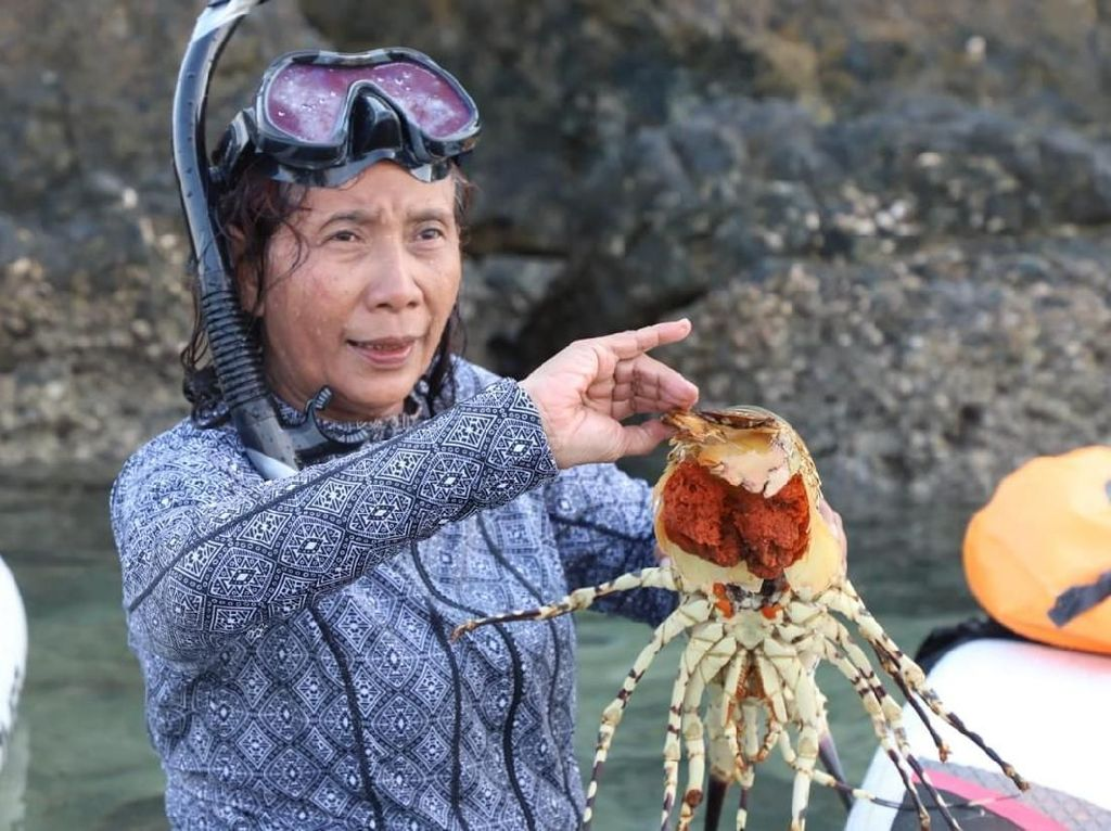 Sembari Paddling, Susi Lepaskan Induk Lobster ke Laut Natuna