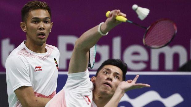Fajar/Rian memberikan perlawanan ketat kepada Kevin/Marcus di final ganda putra Asian Games 2018.