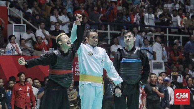 Hanifan Yudani Kusumah ketika dipastikan meraih medali emas di Asian Games 2018.