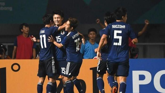 Timnas Jepang di laga Asian Games 2018. (Foto: Arief Bagus/AFP)