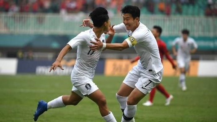 Pemain timnas Korea Selatan, Son Heung-min. (Foto: Arief Bagus/AFP)