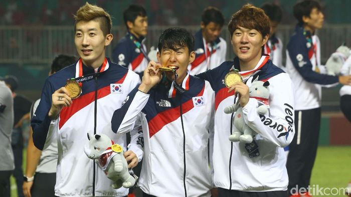 Son Heung-min mengantar Korea Selatan meraih medali emas cabang sepakbola di Asian Games 2018 (Foto: Grandyos Zafna)