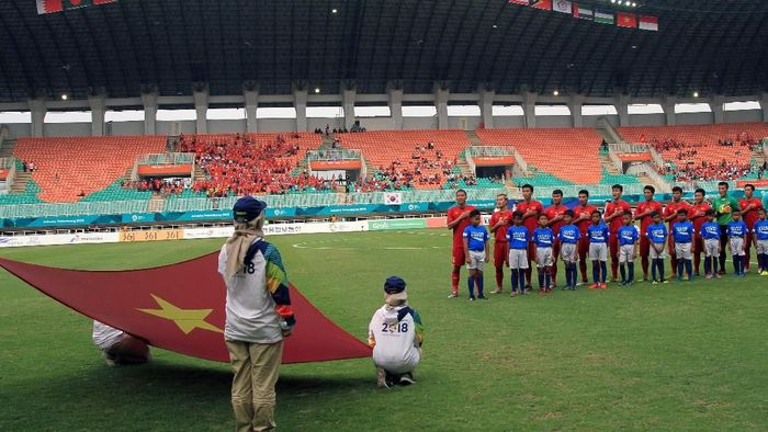 Timnas Vietnam dalam partai perebutan medali perunggu Asian Games 2018 lawan UEA (Foto: Hery Sudewo/ANTARA FOTO/INASGOC)