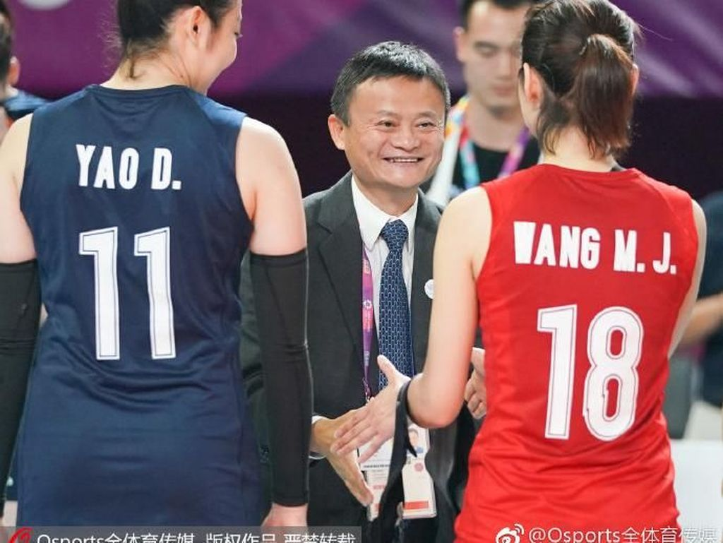 Potret Keseruan Jack Ma Nonton Final Voli di Asian Games