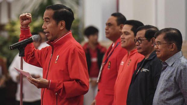Presiden Jokowi memberi langsung bonus atlet peraih medali Asian Games 2018.