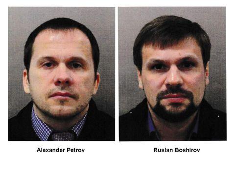 Alexander Petrov (kiri) dan Ruslan Boshirov (kanan) dalam foto yang dirilis otoritas Inggris