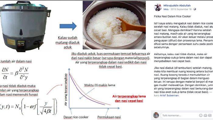 Analisis ilmiah tentang penyebab nasi cepat basi saat dimasak dengan rice cooker ini tengah viral di media sosial (Foto: FB Prof Mikrajuddin Abdullah)