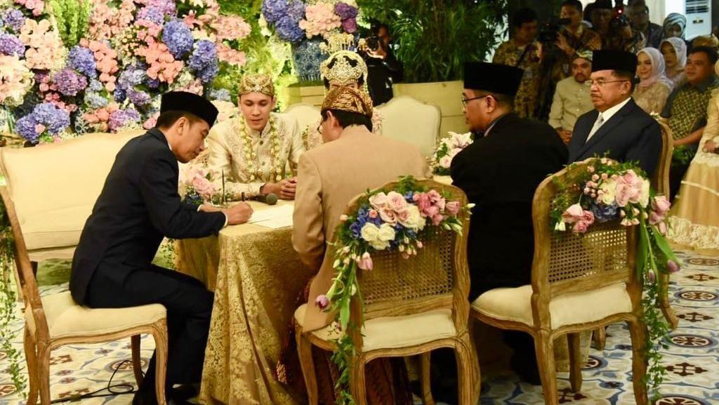 Potret Jokowi-JK Jadi Saksi Nikah Putra Bamsoet
