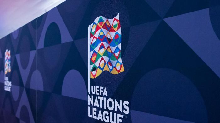 LAUSANNE, SWITZERLAND - JANUARY 24: Feature of the UEFA Nations League logo during the UEFA Nations League Draw 2018 at Swiss Tech Convention Center on January 24, 2018 in Lausanne, Switzerland. (Photo by Robert Hradil/Getty Images)