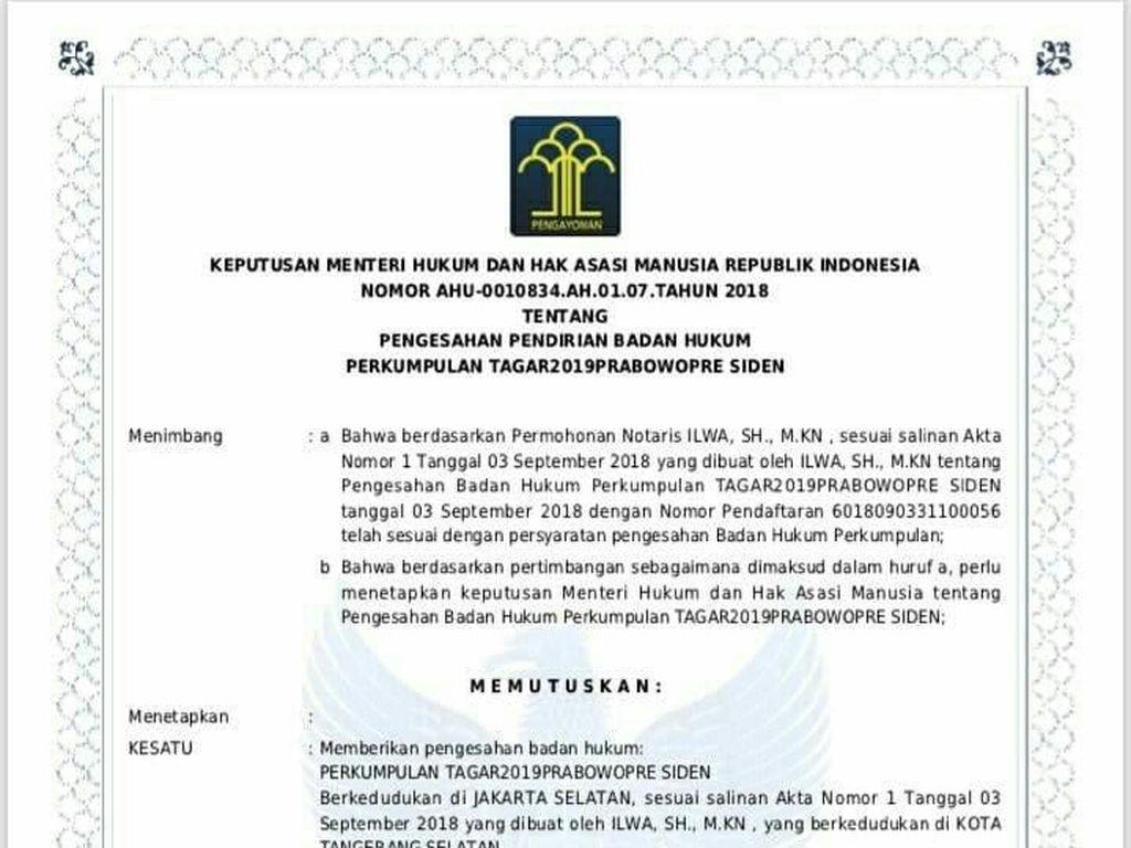 Inisiator Cerita Proses Pendaftaran 2019PrabowoPre Siden