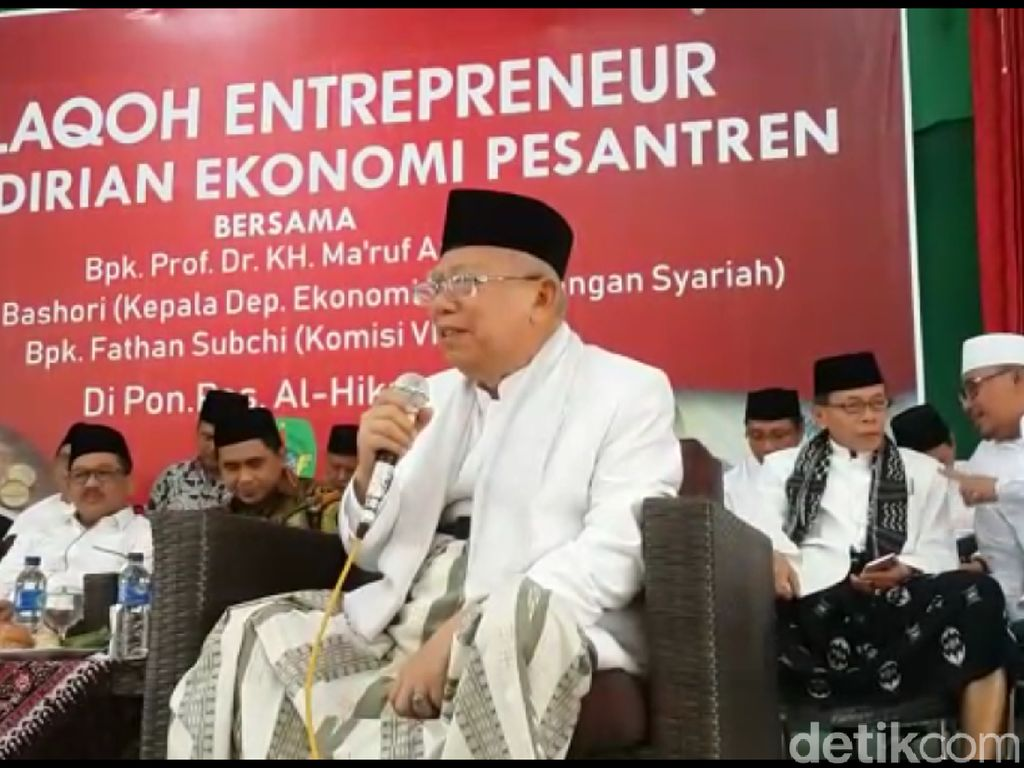 Maruf Amin Bahas Konsep Baru Ekonomi RI di Pesantren Brebes