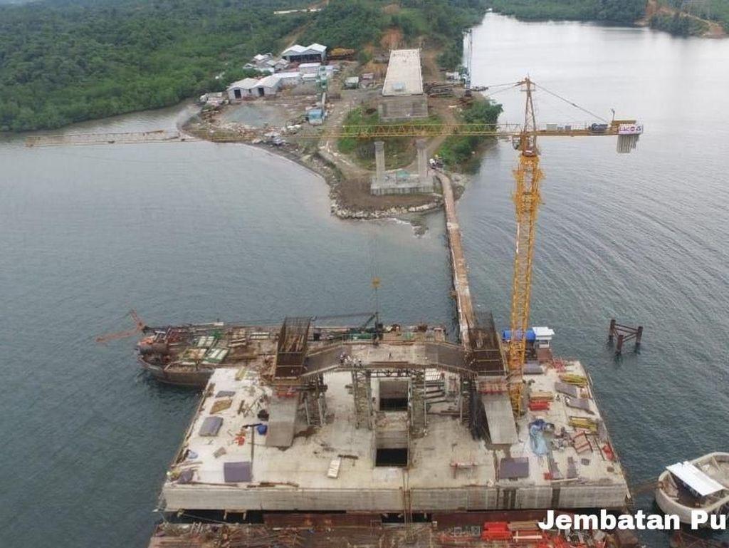Mengintip Pembangunan Jembatan Pulau Balang di Kalimantan