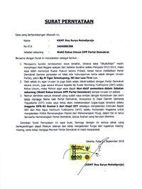 Surat pernyataan Roy Suryo.