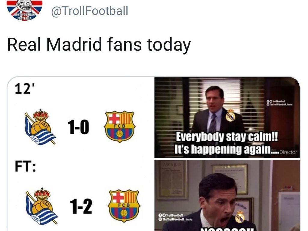 Meme Bermunculan Usai Barcelona Menang dan Real Madrid Imbang