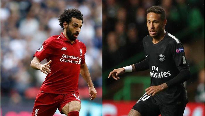 Salah vs Neymar di laga Liverpool kontra PSG. (Foto: Getty Images)