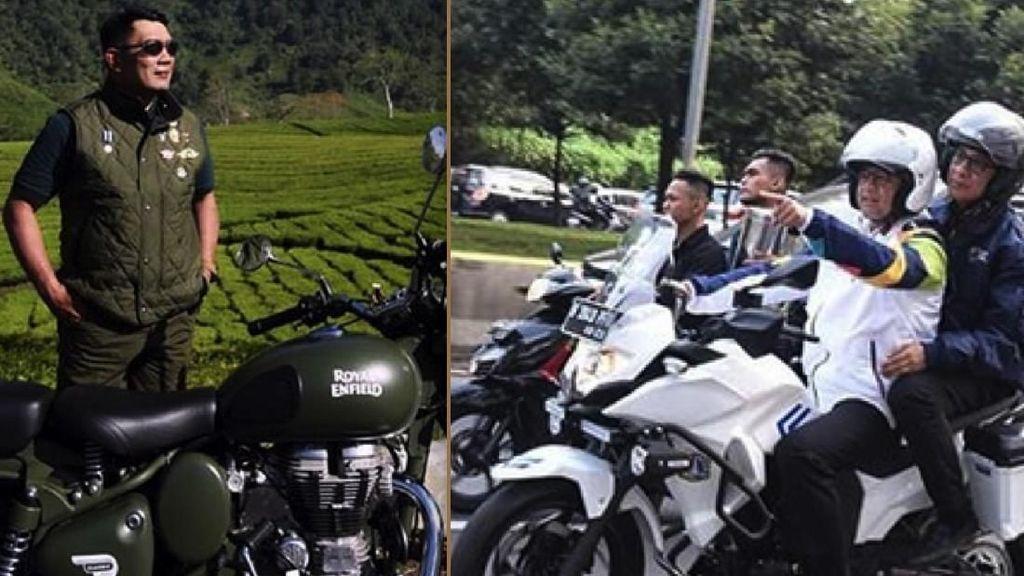 Gaya Ridwan Kamil dan Anies Baswedan Naik Moge, Gantengan Mana?