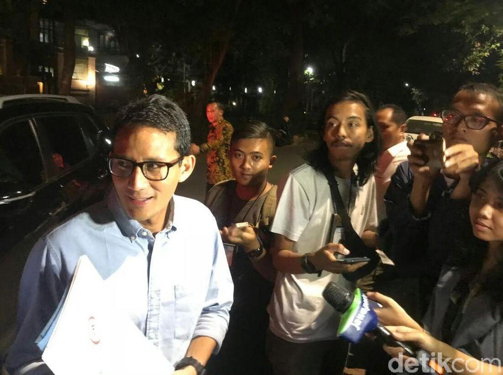Sandiaga dan Kwik Kian Gie Tiba di Kediaman Prabowo