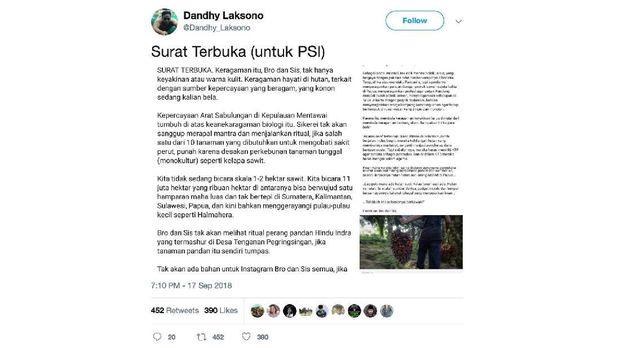 Surat Terbuka Dandhy Sindir PSI: Dakwah Monoteisme Sawit
