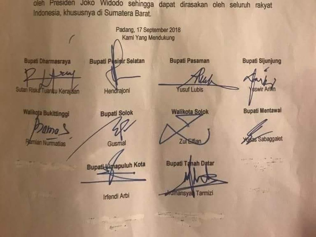 10 Kepala Daerah di Sumbar Dukung Jokowi, Ini Alasannya