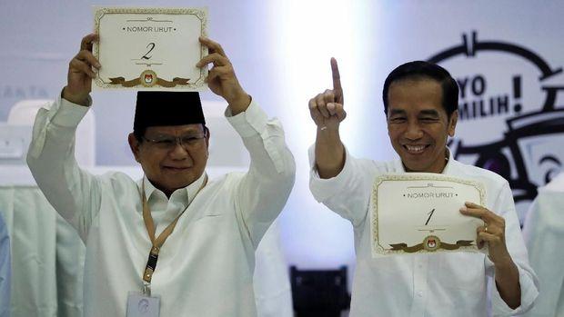 Dua capres di Pilpres 2019, Prabowo Subianto (kiri) dan Joko Widodo (kanan).