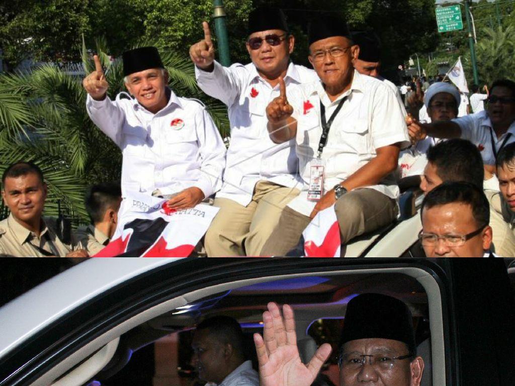 Ambil Nomor Urut, Prabowo Setia Naik Lexus di 2014 dan 2019