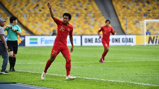 Bagus Kahfi mencetak gol pembuka keunggulan Timnas Indonesia atas Iran di Piala Asia U-16. (