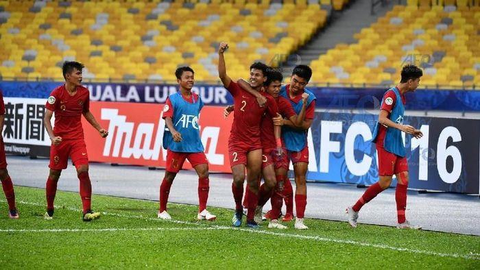 Amiruddin Bagas Kaffa Ar-Rizqi merayakan gol ke gawang Iran. (Adam Aidil Padali/afc)