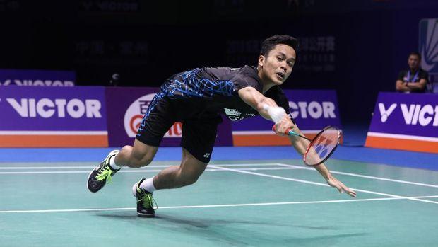 Anthony Ginting tampil impresif di final China Terbuka 2018 melawan Kento Momota.