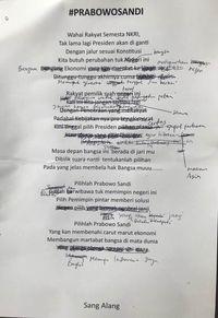 Prabowo Coret-coret Lirik Lagu Sang Alang yang Serang Jokowi
