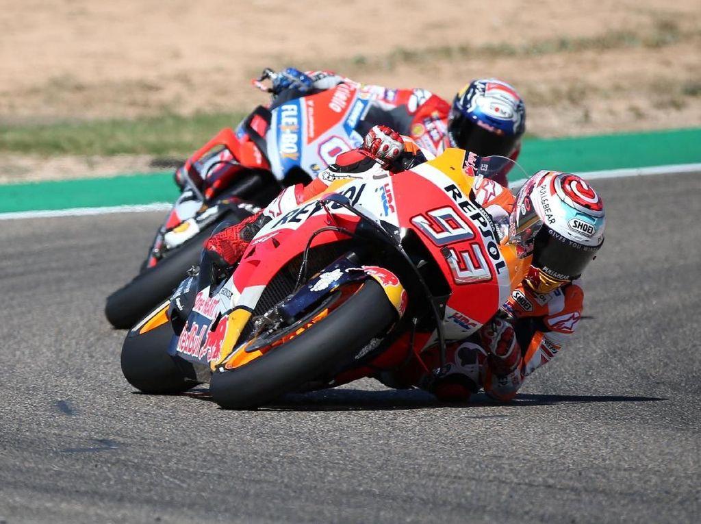 Menangi Duel Sengit dengan Dovizioso, Marquez Juara MotoGP Aragon