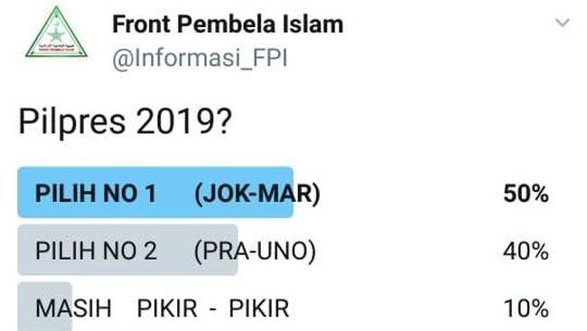 Jokowi-Ma'ruf Menang di Pollingnya, FPI: Akun Kami Di-banned