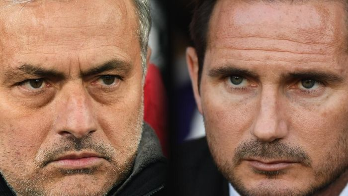FILE PHOTO (EDITORS NOTE: COMPOSITE OF IMAGES - Image numbers 931533094,1020870870 - GRADIENT ADDED) In this composite image a comparison has been made between Jose Mourinho, Manager of Manchester United (L) and Derby manager Frank Lampard. Manchester United and Derby County meet in a Carabao Cup Third Round  on September 25, 2018 at Old Trafford in Manchester. ***LEFT IMAGE*** MANCHESTER, ENGLAND - MARCH 13: Jose Mourinho, Manager of Manchester United looks on prior to the UEFA Champions League Round of 16 Second Leg match between Manchester United and Sevilla FC at Old Trafford on March 13, 2018 in Manchester, United Kingdom. (Photo by Michael Regan/Getty Images) ***RIGHT IMAGE***  DERBY, ENGLAND - AUGUST 21: Derby manager Frank Lampard looks on during the Sky Bet Championship match between Derby County v Ipswich Town at Pride Park Stadium on August 21, 2018 in Derby, England. (Photo by Michael Regan/Getty Images)