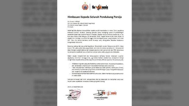 Surat imbauan untuk para anggota Jakmania.