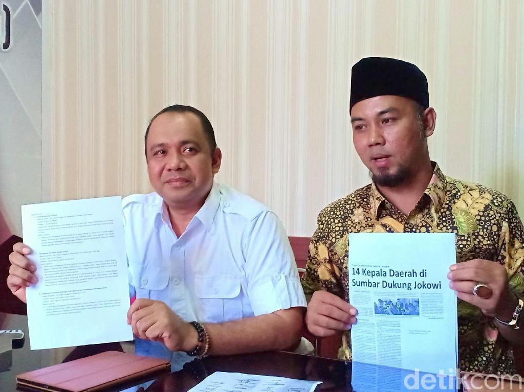 Kubu Prabowo Laporkan Bupati Pesisir Selatan soal Bantuan Jokowi