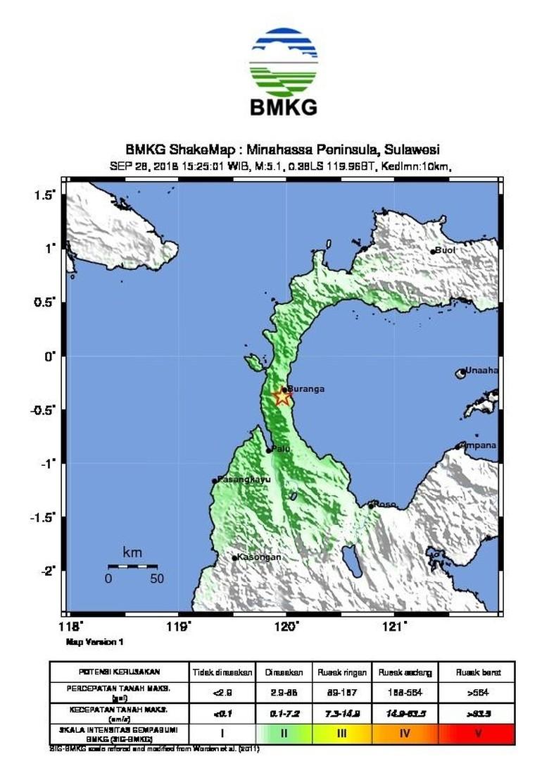 Ini Titik Gempa 7,7 Sr Berpotensi Tsunami Di Donggala Sulteng