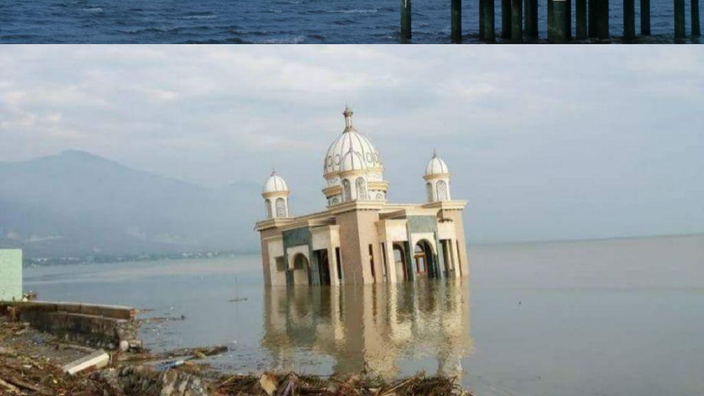 Foto: Before After Masjid Apung Palu yang Diterjang Tsunami