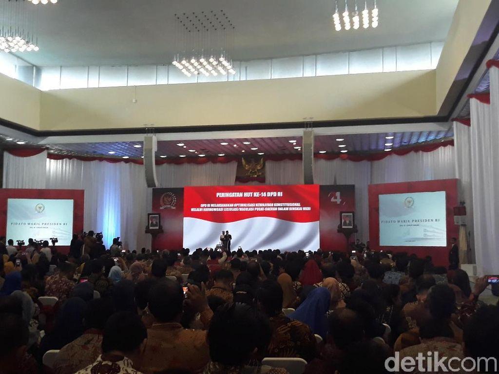 HUT Ke-14 DPD, JK Bicara Pentingnya Peran Senator