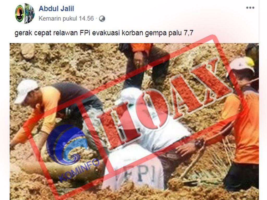 Kominfo Rilis Foto Relawan di Palu Hoax, Ini Tanggapan FPI