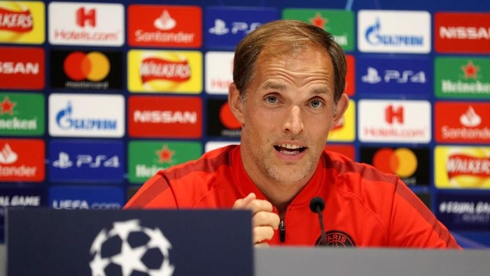 LIVERPOOL, ENGLAND - SEPTEMBER 17:  Thomas Tuchel, Head Coach of Paris Saint-Germain speaks to the media during a Paris Saint-Germain Press Conference on the eve of their UEFA Champions League match against Liverpool at Anfield on September 17, 2018 in Liverpool, England.  (Photo by Mark Robinson/Getty Images)