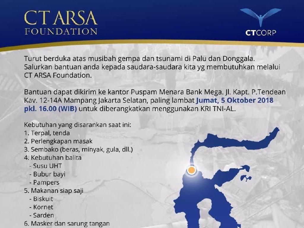CT Arsa Galang Bantuan untuk Korban Gempa Sulteng