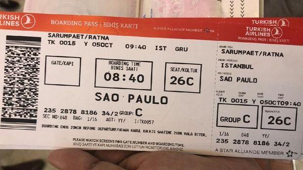 Tiket Ratna Sarumpaet dari Istanbul-Sau Paulo.