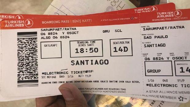 Tiket Ratna Sarumpaet dari Sao Paulo-Santiago.